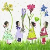 8 niedliche Mädchen mit Frühlingsblumen - 8 cute girls with spring flowers - 8 jolies filles avec des fleurs de printemps
