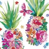 Schmeterling besucht eine Ananas aus Blüten - Butterfly visits a pineapple made of flowers - Papillon visite un ananas fait de fleurs