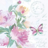 Rosa Aquarell Blumen mit Schmetterling - Pink watercolor flowers with butterfly - Aquarelle rose avec papillon