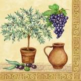 Olivenbaum, Trauben & mediterraner Krug - Olive tree, grapes & Mediterranean pitcher - Olivier, raisins et pichet méditerranéen