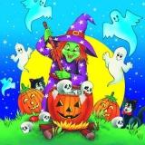 Halloween, Hexe, Kürbisse, schwarze Katzen, Geister & Totenschädel - Halloween, witch, pumpkins, black cats, ghosts & skulls - Halloween, sorcière, citrouilles, chats noirs, fantômes et crânes