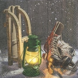 Holzschlitten, Schlittschuhe & Laterne - Wooden sledges, skates & lantern - Luges, patins et lanterne en bois