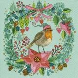 Rotkehlchen im winterlichen Blumenkranz - Robins in winter floral wreath - Robins en couronne florale de hiver