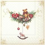 nostalgischer geschmückter Ast mit einem Teddy - nostalgic decorated branch with a teddy bear - branche nostalgique décorée avec un ours en peluche