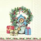 Teddy, Geschenke, Ilexkranz & Blumentopf - Teddy, presents, Ilexkranz & flowerpot - Teddy, cadeaux, Ilexkranz & pot de fleurs
