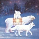 Eisbärfamilie & Wolf - Polar Bear Family & Wolf - Famille d ours polaires et loup
