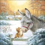 Esel & Katze vor einem verschneiten Dorf - Donkey & cat in front of a snowy village - Âne et chat devant un village enneigé