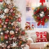 Weihnachtsbaum, Kranz, Teddy, Kissen & Sofa - Christmas tree, wreath, teddy, pillow & sofa - Arbre de noël, couronne, nounours, oreiller et canapé