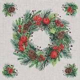Kranz, Tannenzweige, Früchte & Ilex - Wreath, fir branches, fruits & Ilex - Guirlande, branches de sapin, fruits & Ilex