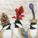 3 Vögel mit herbstlichen Kopfschmuck - 3 birds with autumnal headdress - 3 oiseaux avec coiffe automnale
