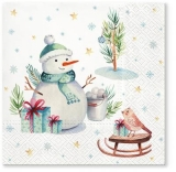 Schneemann, Schlitten, Vogel, Geschenke & Eimer voll mit Schneebällen - Snowman, sledge, bird, gifts & bucket full of snowballs - Bonhomme de neige, luge, oiseau, cadeaux et seau rempli de boules de n