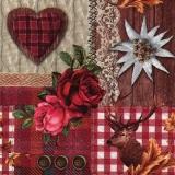 Collage aus Hirsch, Edelweiss, Rosen & Spitze - Collage of deer, edelweiss, roses & lace - Collage de cerfs, edelweiss, roses et dentelles