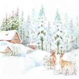 Hirsche, Schnee, Hütten, Wald - Deers, snow, huts, forest - Cerfs, neige, cabanes, forêt