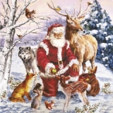 Weihnachtsmann mit den Tieren des Waldes - Santa Claus with the animals of the forest - Père Noël avec les animaux de la forêt