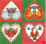 4 Weihnachtsherzen rot/grün - Happy Holiday