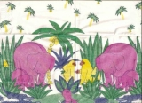 Am Wasserloch,Elefant,Nilpferd,Krokodil,Affe,Palmen
