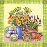 Lavendel und andere Blumen in Kanne und Topf