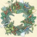 Exotische Vögel im grünen Kranz - Exotic birds in winter wreath - Oiseaux exotiques en guirlande verte
