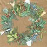 Exotische Vögel im grünen Kranz/gold - Exotic birds in winter wreath/gold