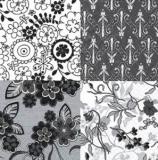 4 Muster schwarz/weiß