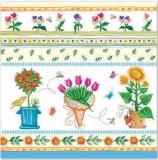 Blumen, Vögelchen & Insekten, blau