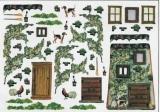 Hauswand,Hähne,Blumenranken,Türen,Hunde.....