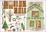 Weihnachtliches Haus,Schneemann,Tannnenbaum....